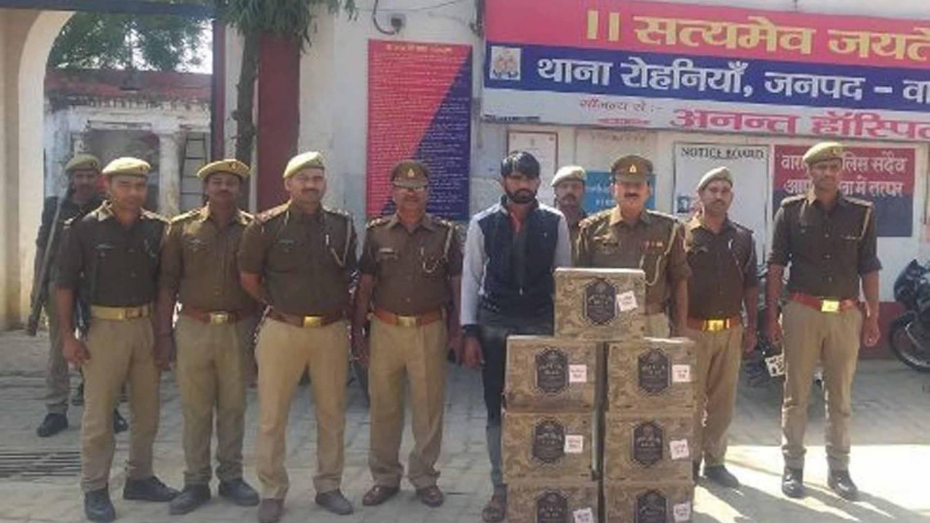 वाराणसी: रोहनिया पुलिस ने पकड़ी 50 लाख की अग्रेजी शराब, एक तस्कर गिरफ्तार