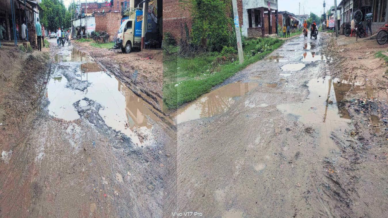 सड़कें बनी तालाब, राहगीरों को चलना मुश्किल