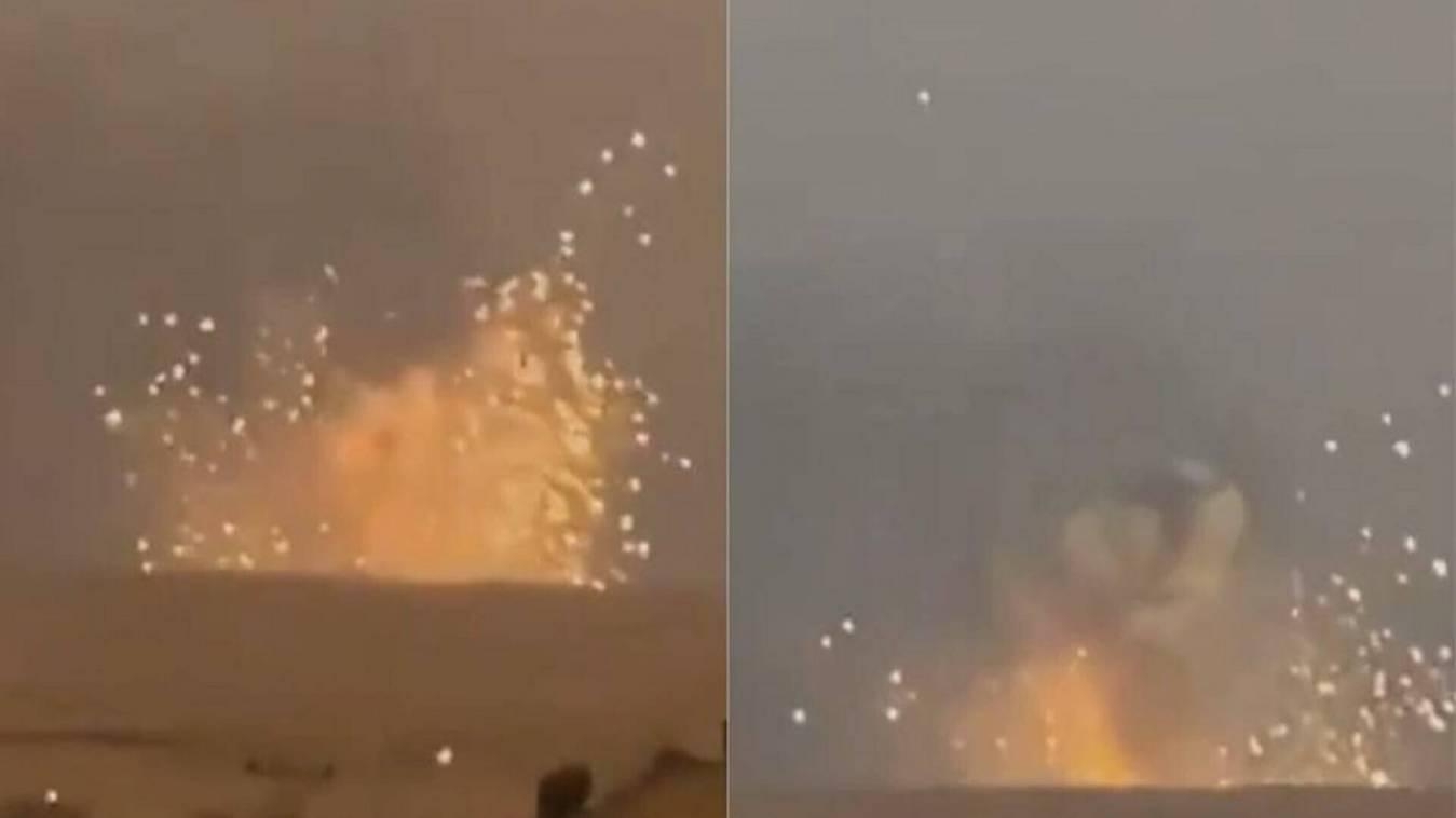 गोला बारूद से भरे सेन्टर पर जबरदस्त धमाका, आसमान में दिखी आग की लपटें